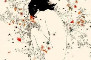 mujer con flores representando el dolor