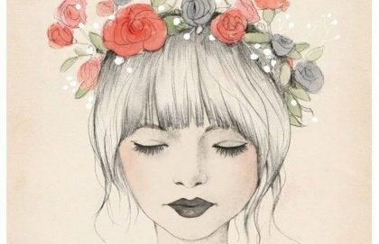 Mujer con flores en la cabeza que no tiene que demostrar nada