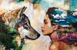 mujer con lobo representando personas que agotan