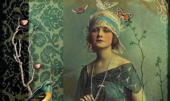 mujer con mariposas y expresión de dignidad