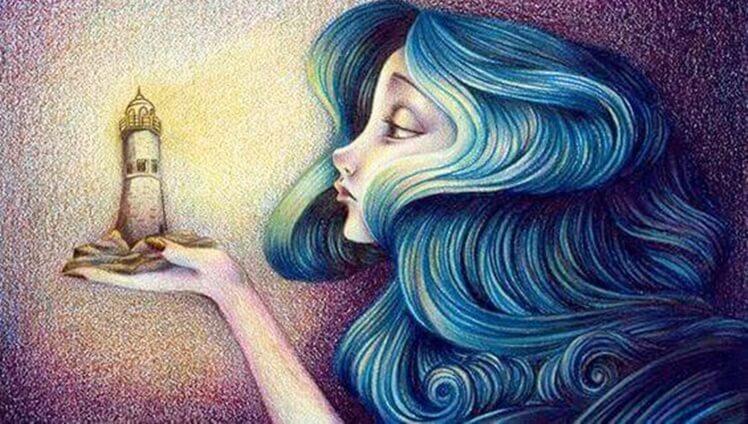 Mujer pensando en la ideal del faro que siempre nos guía