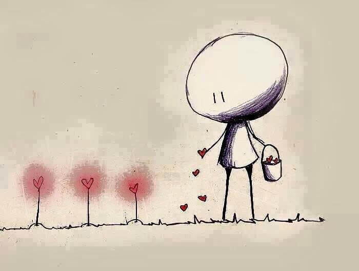Muñeco sembrando corazones