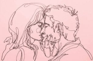 Pareja besándose representando el amor como droga
