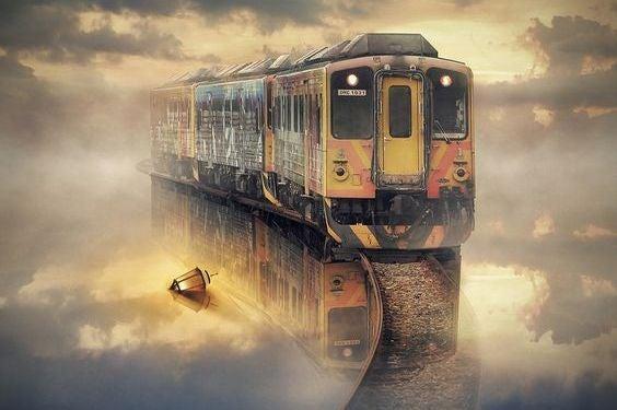 tren que cruza un lago donde hay un farol