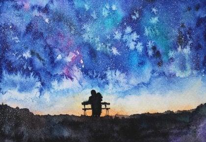 Pareja sentada en un banco
