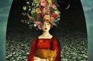 mujer flores en cabeza