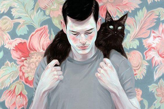 hombre con gato asexualidad