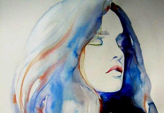 mujer azul