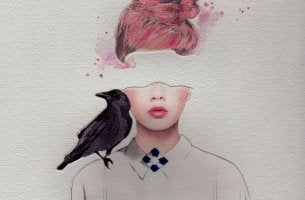 mujer con cuervo que simboliza su diálogo interno