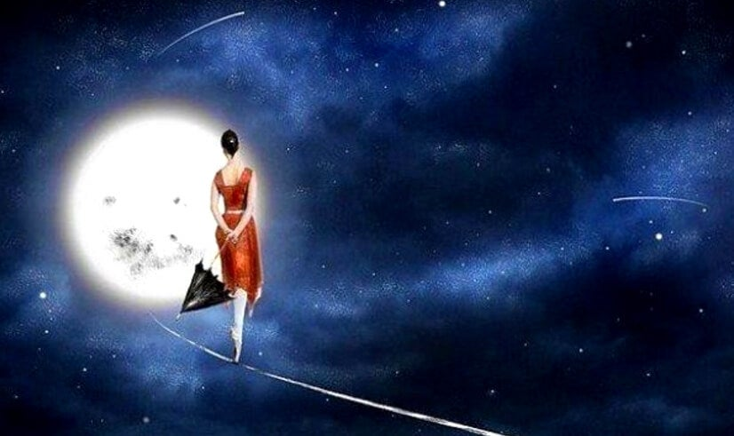 woman walking to moon