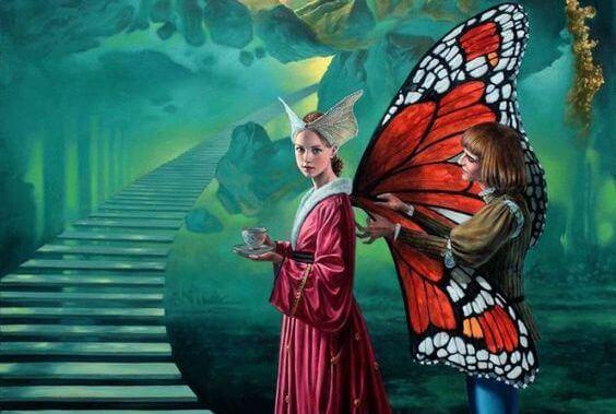 mujer mariposa caracterizando sus emociones negativas