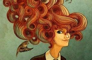 mujer pájaros en la cabeza