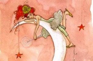 Mujer sobre la luna representando que todo lo bueno te siga