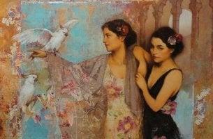 mujeres con pajaro