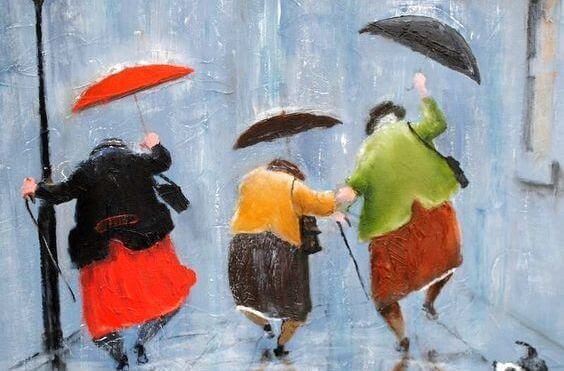 old women with umbrellas