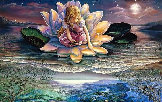 niña en flor de loto