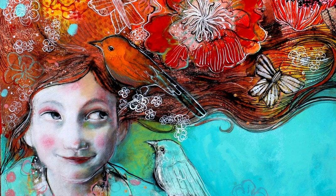 niña con pájaro