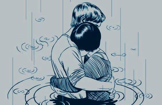 pareja abrazada con ternura