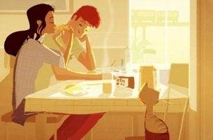 pareja desayunando