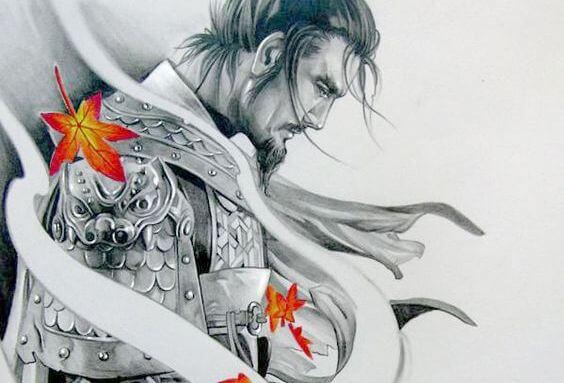 samurai con hojas simbolizando el camino del guerrero