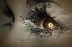 Ojos tristes representando la noche oscura del alma