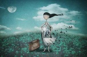Mujer liberando pájaros representando cuesta tener amigos
