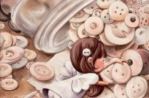 Niña con botones representando niño difícil
