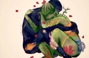 pareja abrazada mostrando que ellas son idealistas