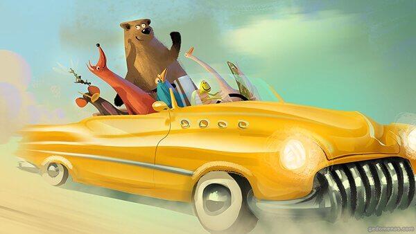 Animales en un coche