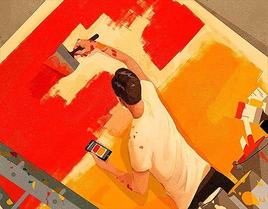 Hombre pintando una pared
