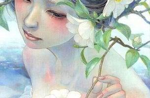 mujer con flores sanando ideas
