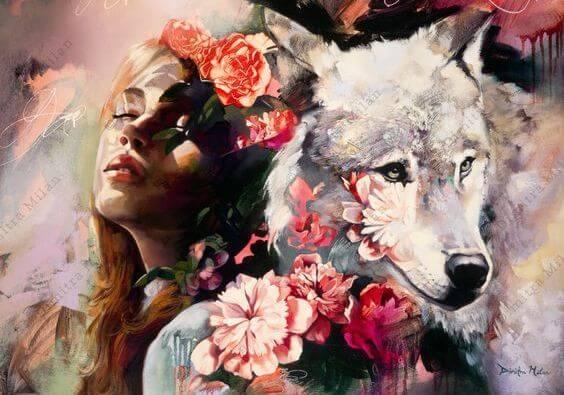 mujer con lobo representando perseverancia