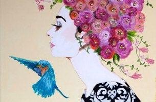 mujer con pájaro que representa los cambios