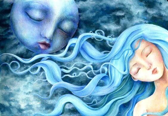 mujer luna en calma