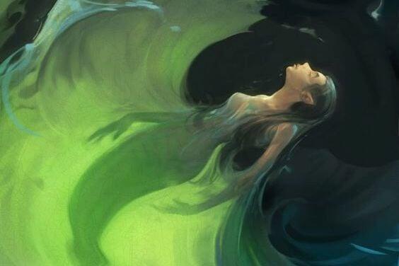 mujer olas caer