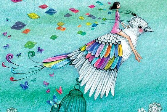mujer sobre pájaro en busca de lo bueno