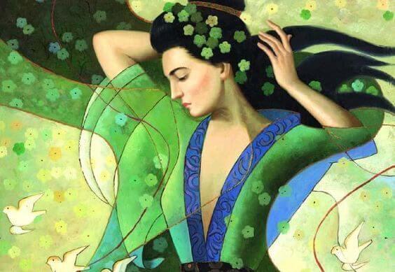 mujer vestido verde