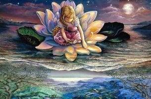 Niña con flor de loto