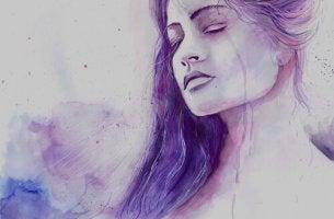 Mujer triste con los ojos cerrados representando kintsukuroi