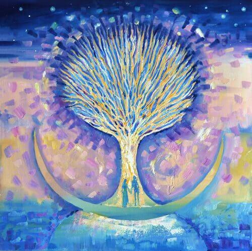 Árbol con pareja  simbolizando el comienzo de una relación de pareja
