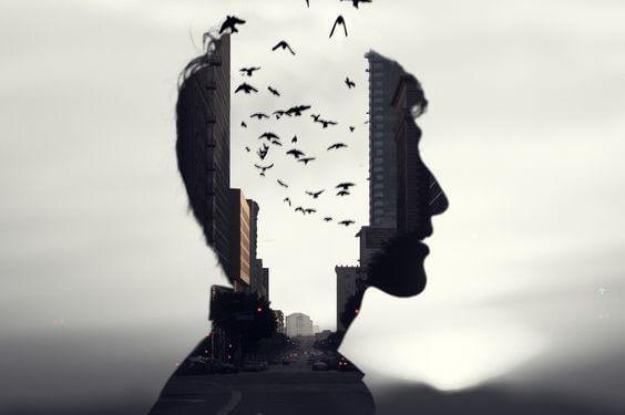 hombre con pájaros en la cabeza