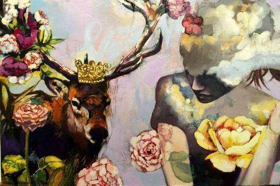 mujer-con-ciervo