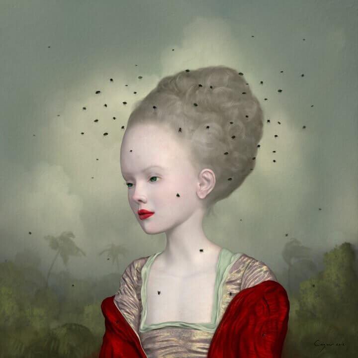 Mujer rodeada de moscas