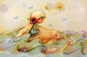 Niña montada en un delfín de Karin Taylor