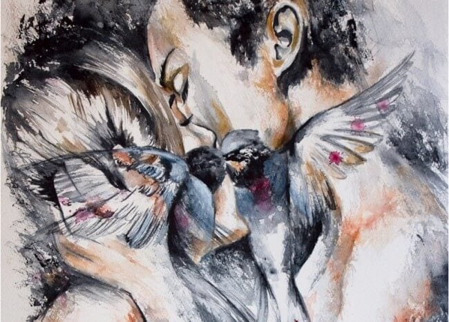 people and birds kissing