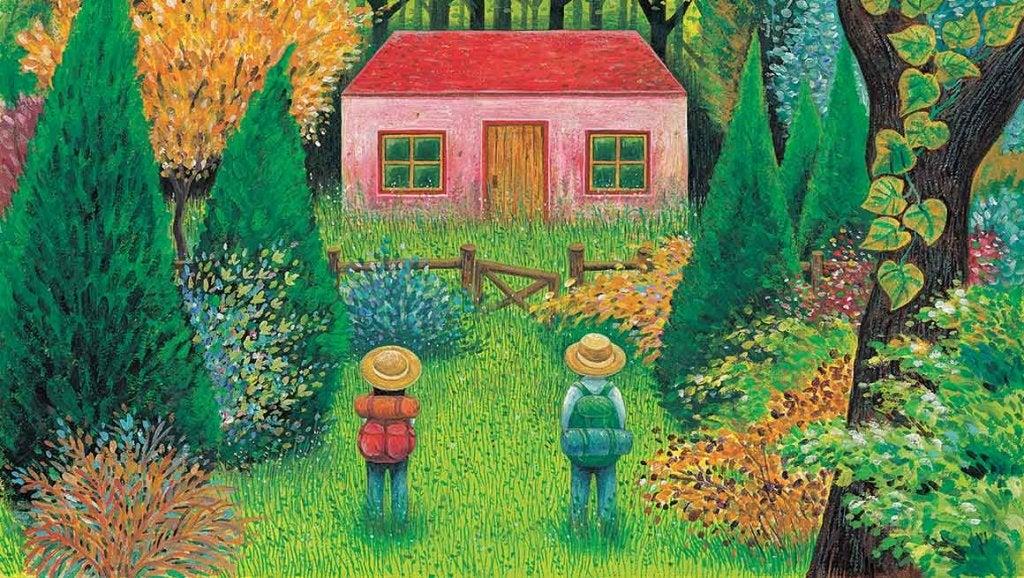 pareja ante una casa