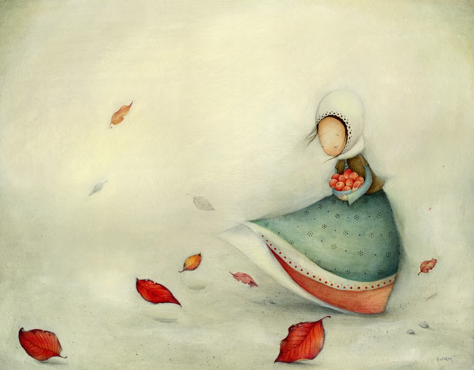 Chica con bol repleto de manzanas
