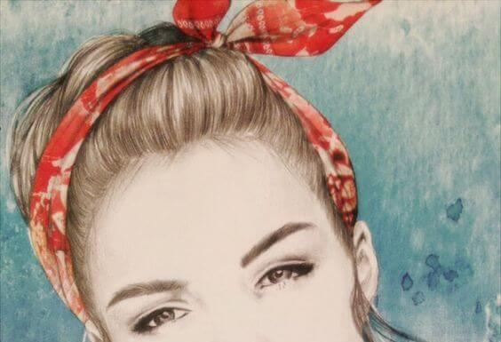 Lazo rojo en el pelo de una mujer