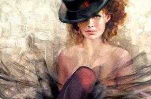 mujer con sombrero que se siente perfecta