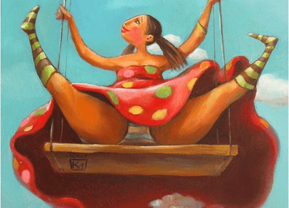 Mujer feliz en un columpio